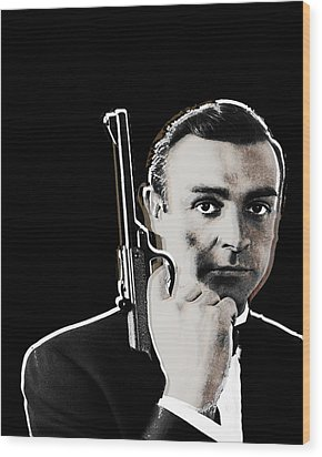 Sean Connery James Bond Vertical Wood Print by Tony Rubino