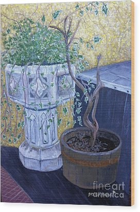 Wood Print featuring the painting Sean's Planter by Brenda Brown