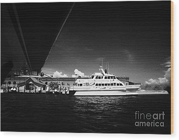 Seaplane Passing Ferry And Dock At Fort Jefferson Dry Tortugas National Park Florida Keys Usa Wood Print by Joe Fox
