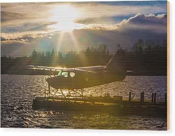 Seaplane Sunset Wood Print