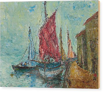 Seaport Painting Wood Print by Russell Shively