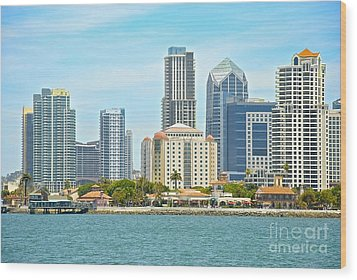 Seaport Village And Downtown San Diego Buildings Wood Print