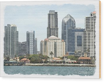 Seaport Village And Downtown San Diego Watercolor Wood Print