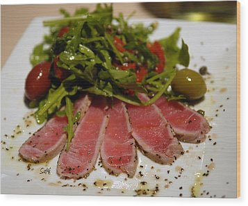 Seared Tuna Wood Print
