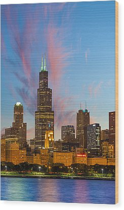 Wood Print featuring the photograph Sears Tower Sunset by Sebastian Musial