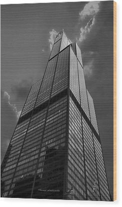 Sears Willis Tower Black And White 01 Wood Print by Thomas Woolworth