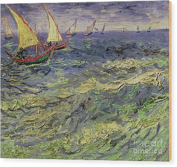 Seascape At Saintes-maries 1888 Wood Print by Vincent van Gogh