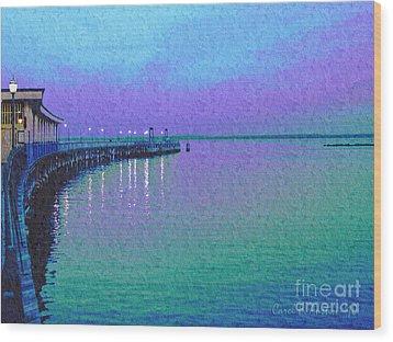 Painterly Seascape Purple Flurry Wood Print
