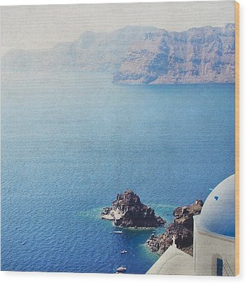 Wood Print featuring the photograph Seascape - Santorini by Lisa Parrish