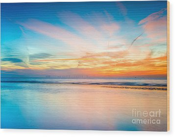 Seascape Sunset Wood Print by Adrian Evans