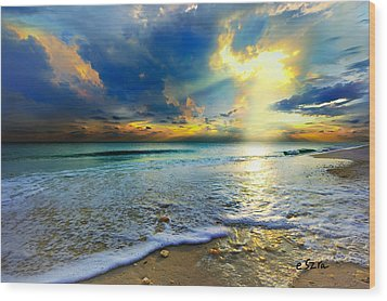 Seascape Sunset-gold Blue Sunset Wood Print