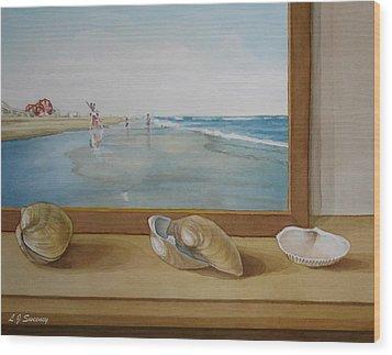 Seashells By The Jersey Shore Wood Print by Lauren Sweeney