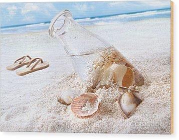 Seashells In A Bottle On The Beach Wood Print by Sandra Cunningham