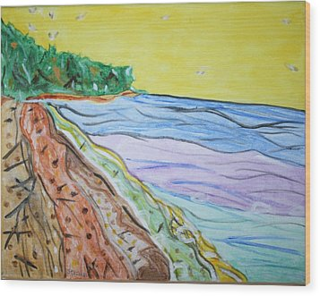 Wood Print featuring the painting Seashore Bright Sky by Stormm Bradshaw