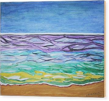 Wood Print featuring the painting Seashore Blue Sky by Stormm Bradshaw