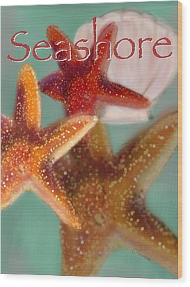 Seashore Poster Wood Print by Christine Fournier