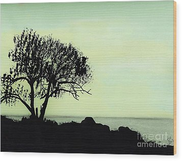Wood Print featuring the drawing Seashore Silhouette by D Hackett