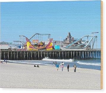 Seaside Casino Pier Wood Print by Neal Appel