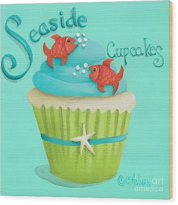 Seaside Cupcakes Wood Print by Catherine Holman