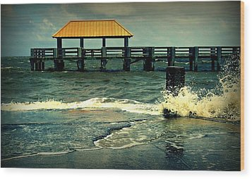 Seaside Dock Wood Print by Ali Dover