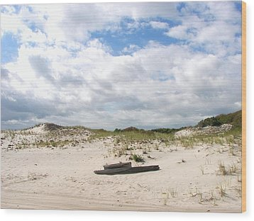 Wood Print featuring the photograph Seaside Driftwood And Dunes by Pamela Hyde Wilson