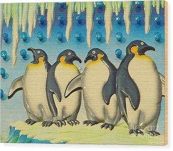 Seaside Funtown Penguins Wood Print