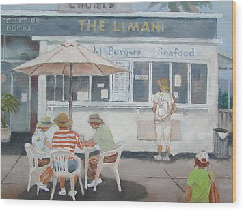 Wood Print featuring the painting Seaside Lunch by Tony Caviston