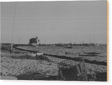 Seaside Park Nj Yacht Club Bw Wood Print by Joann Renner