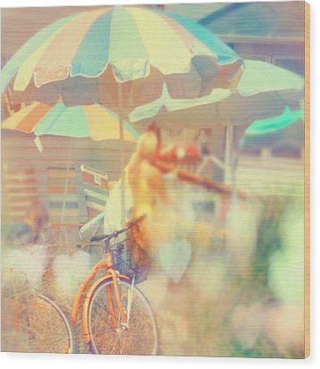 Seaside Town Wood Print by Elle Moss