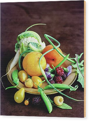 Seasonal Fruit And Vegetables Wood Print