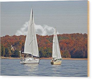 Seasonal Sailing Wood Print by Susan Leggett