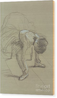 Seated Dancer Adjusting Her Shoes Wood Print by Edgar Degas
