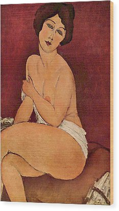 Seated Female Nude Wood Print by Amedeo Modigliani