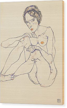 Seated Female Nude Wood Print by Egon Schiele