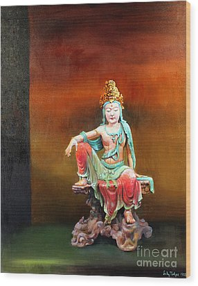 Seated Kuan Yin Wood Print