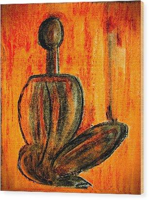 Seated Man Wood Print by Nirdesha Munasinghe
