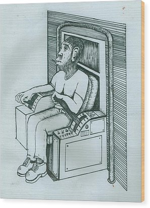 Seated Monkey Sketch Wood Print