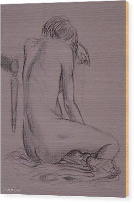 Seated Nude Wood Print
