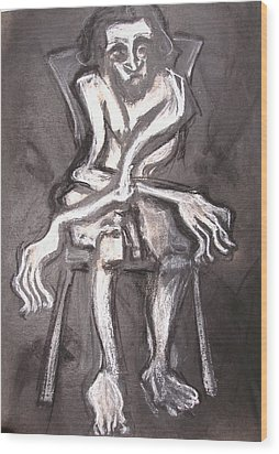 Seated Nude Old Man Wood Print