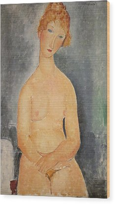 Seated Nude Woman Painting Wood Print by