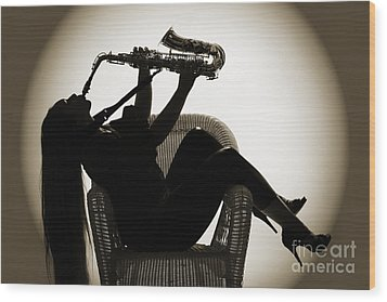 Seated Saxophone Playere Wood Print by M K  Miller