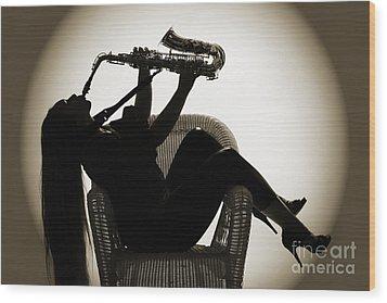 Seated Saxophone Playere Wood Print