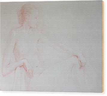 Seated Woman Wood Print by Deborah Dendler