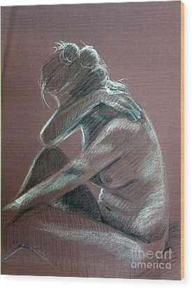Seated Woman Side Light Wood Print