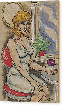Seated Woman With Wine Wood Print by John Ashton Golden