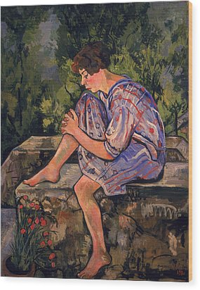 Seated Young Woman Wood Print by Marie Clementine Valadon