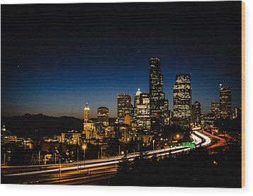 Seattle At Night Wood Print by Brian Xavier