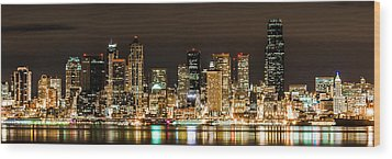 Wood Print featuring the photograph Seattle At Night by Chris McKenna