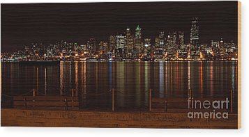 Seattle At Night Wood Print