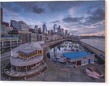 Seattle Bell Street Pier Wood Print by Dan Mihai